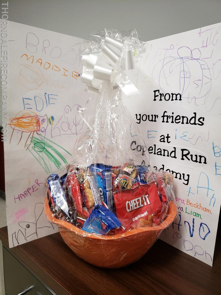 Copeland Run Academy Thank You Gift to the Fire Company.